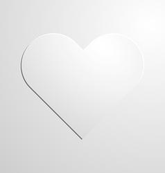 White paper heart icon on background vector image vector image