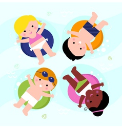 Beautiful smiling summer kids on water vector image vector image
