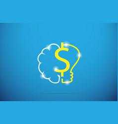 dollar symbol with brain and lightbulb vector image