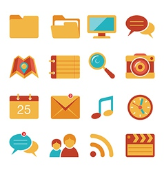 Flat icons set 4 vector image vector image