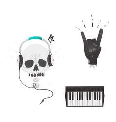 flat music symbol rock gesture skull piano vector image