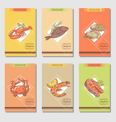 hand drawn seafood cards design with fish vector image vector image
