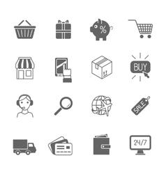 Shopping e-commerce icons set black vector image