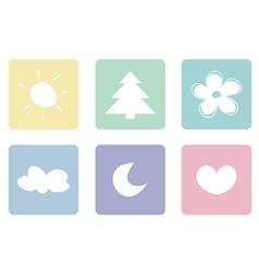 Sweet pastel icons buttons or logo set vector image vector image