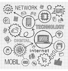 Technology hand draw integrated icons set vector image