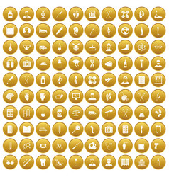 100 ambulance icons set gold vector