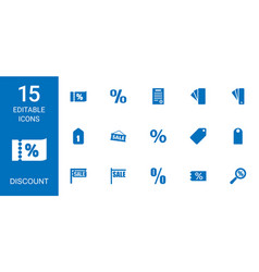 15 discount icons vector