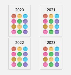 2020 calendar templatestarts mondayyearly vector image