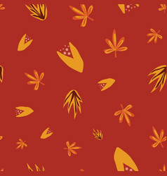 Abstract autumn florals seamless doodle vector