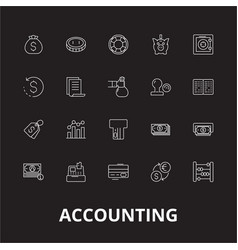 accounting editable line icons set on black vector image