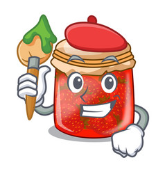 artist character homemade strawberry marmalade in vector image