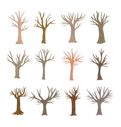 Autumn trees set collection vector