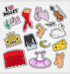 ballet doodle with dance theater stickers vector image