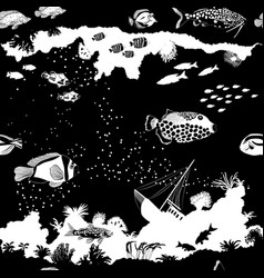 Black and white seamless pattern with fish vector