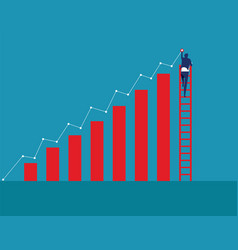 Businessman on ladder and drawing growing trend vector
