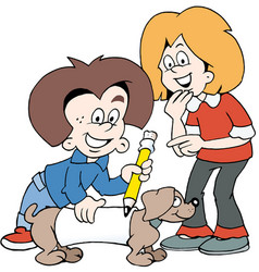 cartoon of two happy children with a family dog vector image