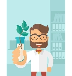 Chemist with tube and eco leaves vector image vector image