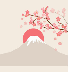 Cherry blossom and mount fuji vector