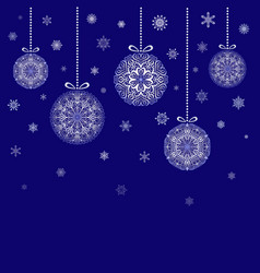 christmas balls hanging on blue background vector image