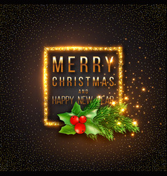 christmas design realistic gold frame vector image