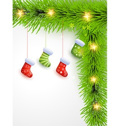 Christmas socks hanging vector