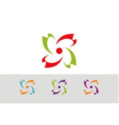 Circle eco technology logo vector