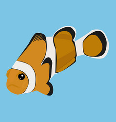 Clownfish icon on a blue background vector