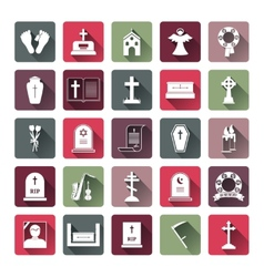 Colored Funeral Icon Set vector image