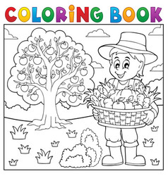coloring book farmer with harvest 3 vector image