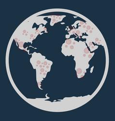 Covid-19 virus icon coronavirus in world map vector
