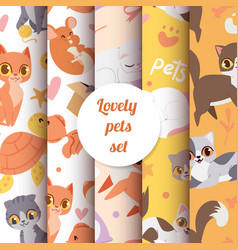 cute animals cats seamless pattern with lovely vector image
