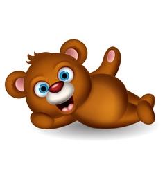 Cute brown bear cartoon posing vector