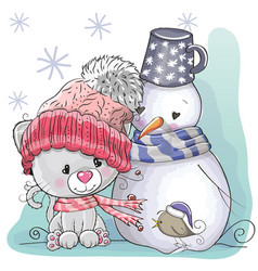 Cute kitten and snowman vector