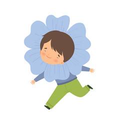 Cute little boy wearing light blue flower costume vector