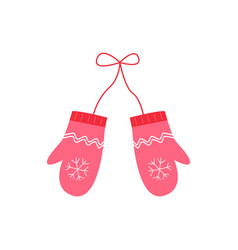 cute red knitted mittens with snowflake vector image