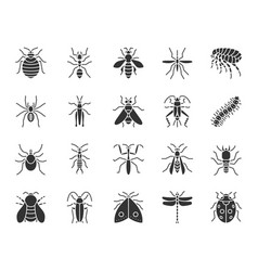 danger insect black silhouette icons set vector image