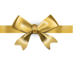 decorative golden bow with glossy long ribbon vector image