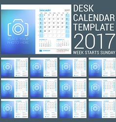 Desk Calendar Template for 2017 Year Set of 12 vector image