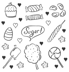 doodle candy various style hand draw vector image