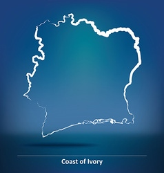 Doodle Map of Coast of Ivory vector