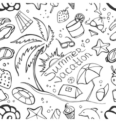 Doodle pattern summer vacation vector