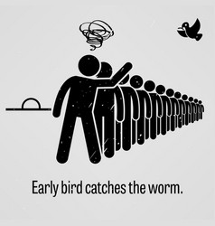 early bird catches the worm a motivational and vector image