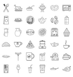 Feast icons set outline style vector