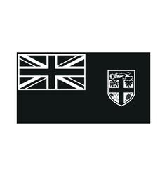 Fiji flag isolated monochrome on white background vector
