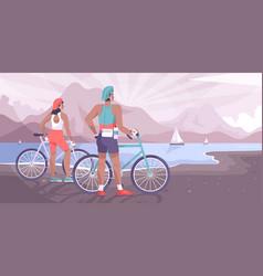 Flat bike tourism landscape vector