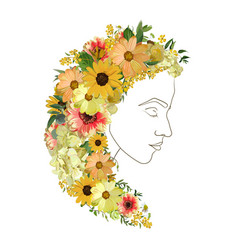 Floral female line silhouette portrait of vector