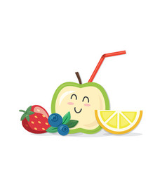 fresh juice concept icon kawaii fruits and vector image