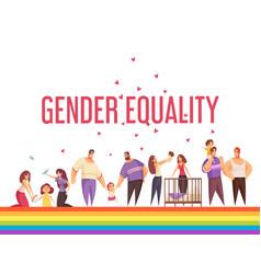Gender equality doodle composition vector