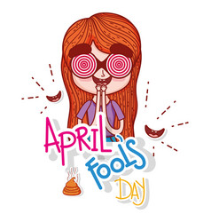 Girl wearing funny glass and smiles to fools day vector