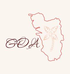 goa india map grey vector image